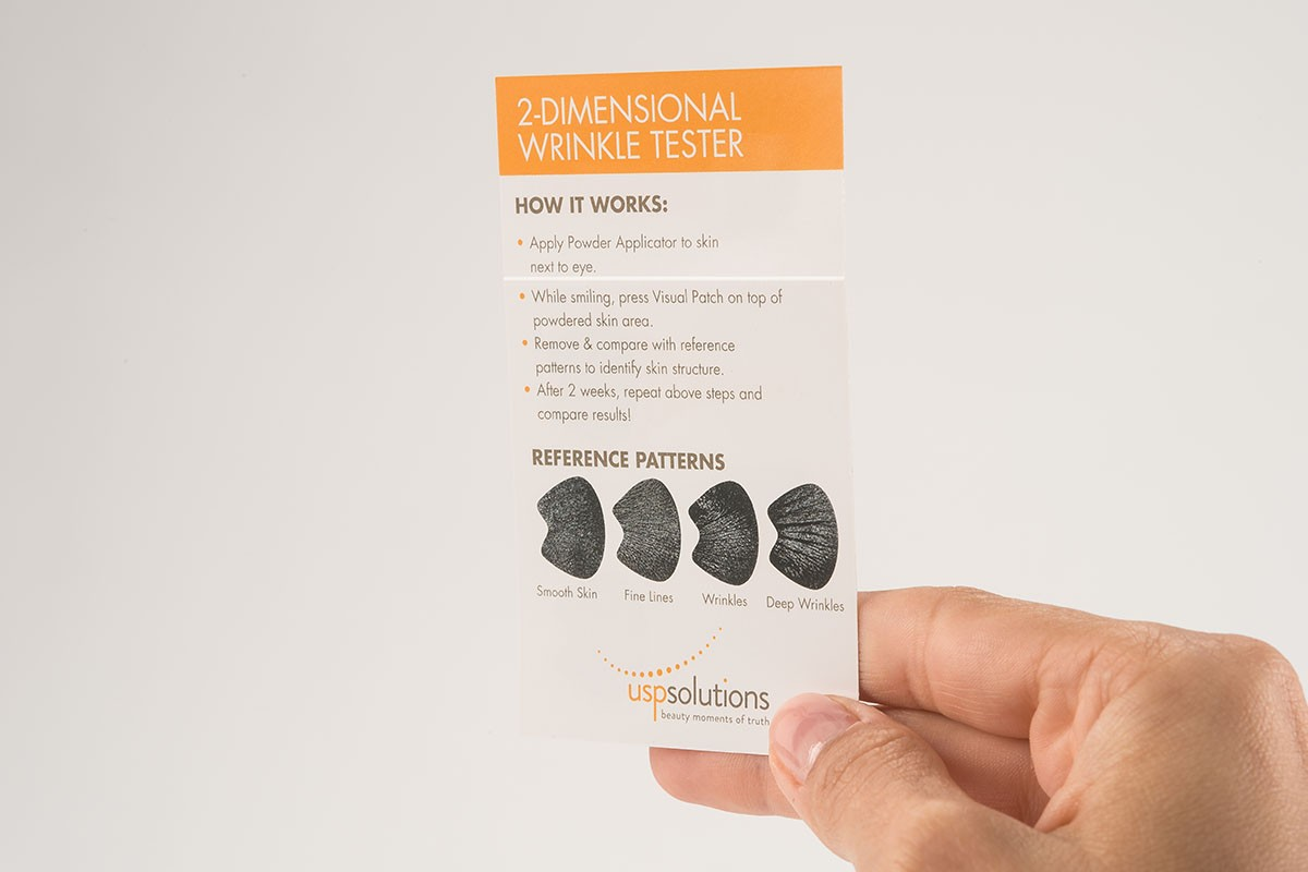 How to engage customers - 2D Wrinkle Test held by 2 Fingers | USP Solutions