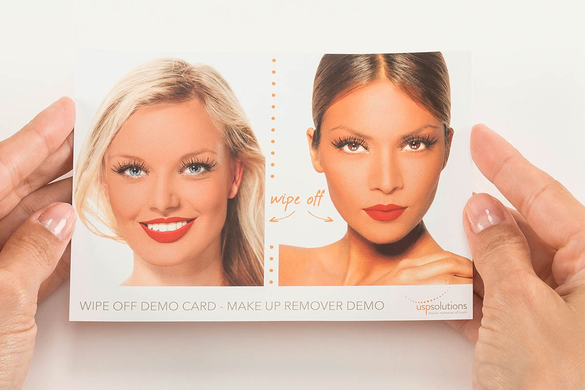 Make-Up Removal Demo Tool - Held by two hands | USP Solutions